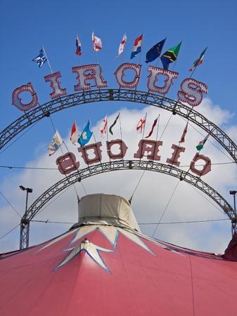 big top: Circus signs adorn a big top
