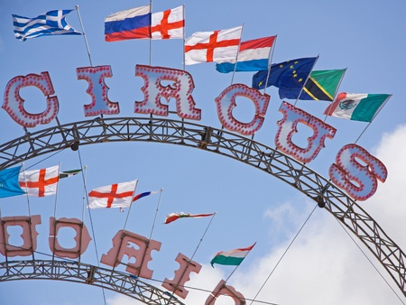 Circus signs with flags flying