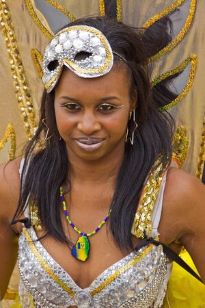 """Bristol, England - July 2, 2011 - Participant in the annual St Pauls """"Afrikan-Caribbean"""" carnival. A record crowd of 80,000 attended the event"""