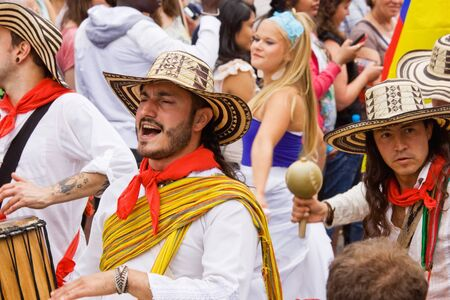 "attended: Bristol, England - July 2, 2011 - Colombian musicians at the annual St Pauls ""Afrikan-Caribbean"" carnival. A record crowd of 80,000 attended the event"