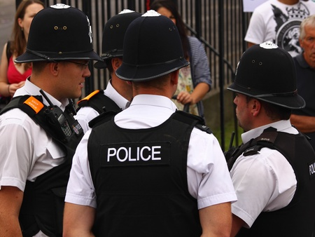 "Bristol, England - July 2, 2011 - Police unit at the annual St Pauls ""Afrikan-Caribbean"" carnival. A record crowd of 80,000 attended the street event"