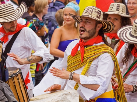 "attended: Bristol, England - July 2, 2011 - Latin American band at the annual St Pauls ""Afrikan-Caribbean"" carnival. A record crowd of 80,000 attended the street event"