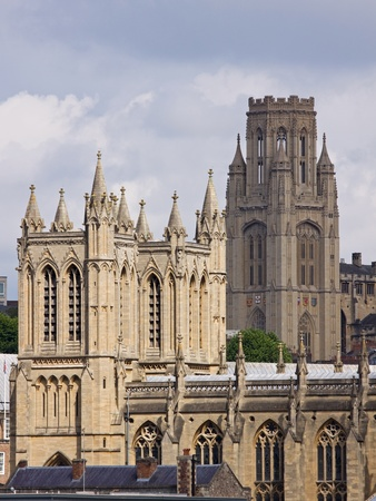 The neo-classical towers of the cathedral and university in Bristol UK Stock Photo