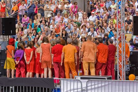 estimated: Bristol, England - July 31, 2011 - Choir and audience at the 40th annual Harbour Festival attended by an estimated 280,000 people