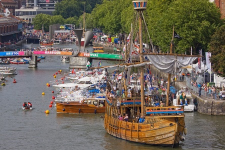 Bristol, England - July 31, 2011 - The replica fifteenth century wooden sail ship The Matthew at the 40th annual Harbour Festival attended by an estimated 280,000 people