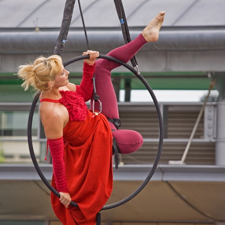 estimated: Bristol, England - July 31, 2011 - Aerial acrobatics at the 40th annual Harbour Festival attended by an estimated 280,000 people