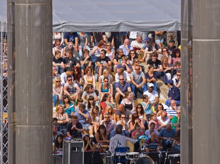 gig harbor: Bristol, England - July 30, 2011 - Musician and spectators at the 40th annual Harbour Festival attended by 280,000 people Editorial