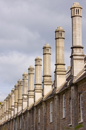 Chimneys dating from the middle ages in Vicars Close in Wells UK photo