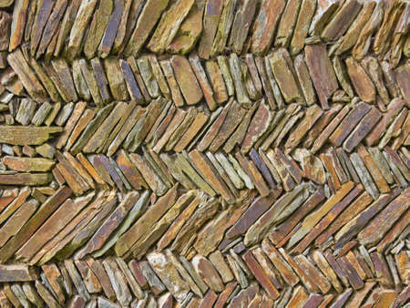 interlocked: Detail of a traditional dry stone wall in Devon, England