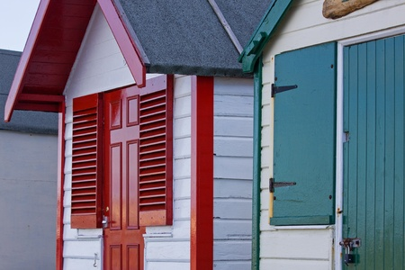 Vivid colours of beach huts in SW England