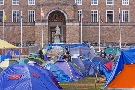 tent city: Bristol, England - November 18, 2011 - The Occupy Bristol campaign outside the Council offices, the largest such camp in the UK outside London