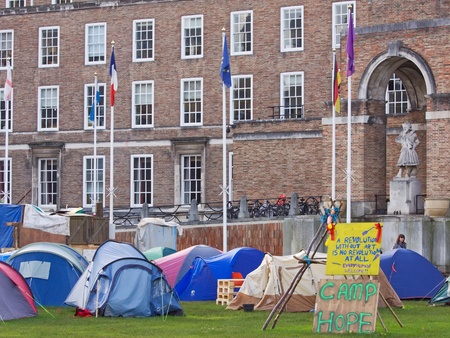 Bristol, England - November 18, 2011 - The Occupy Bristol campaign outside the Council offices, the largest such camp in the UK outside London Stock Photo - 11249658