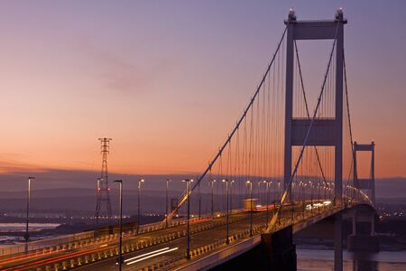 Original Severn crossing between England and Wales in early evening photo