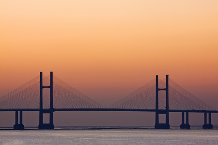 superstructure: Second river Severn crossing at dusk Stock Photo