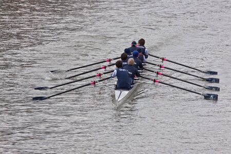 fibreglass: Bristol, England � February 19, 2012 -  Oxford crew competing in the annual Head of the River race through the city docks entered by one hundred teams  Editorial
