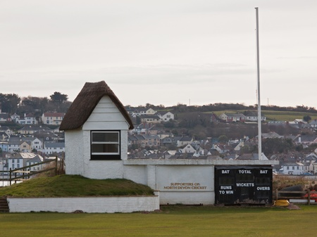 The old scorehut at Instow cricket ground in Devon UK Stock Photo - 12877522