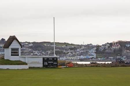 Deserted cricket ground in winter at Instow in Devon UK Stock Photo - 12877523