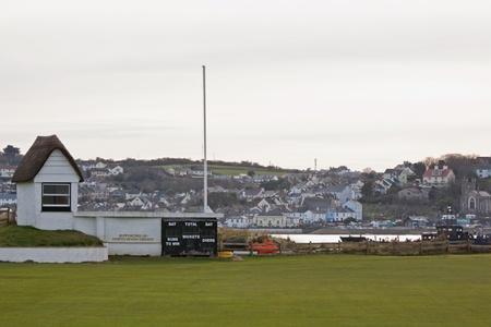 Deserted cricket ground in winter at Instow in Devon UK Stock Photo - 12877523