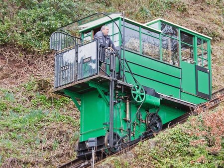 lynmouth: Lynton, England � March 6, 2012 -  Carriage on the funicular railway linking Lynton and Lynmouth in Devon UK