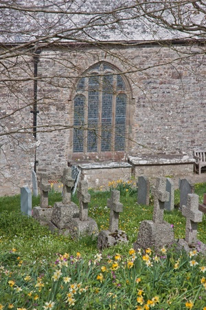 The graveyard in the grounds of the 13th Century parish church at Morwenstow in Cornwall UK photo