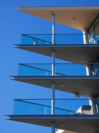 Blue Sky and Modern Apartment Balconies