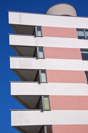 Bright colour and angular lines of a contemporary apartment block
