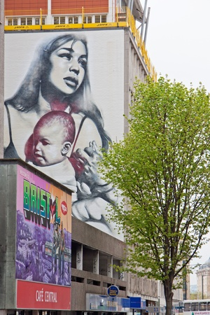 Bristol, England � May 2, 2012 : Painting adorning a wall in central Bristol painted for the 2011 See No Evil graffiti project which confirmed the city