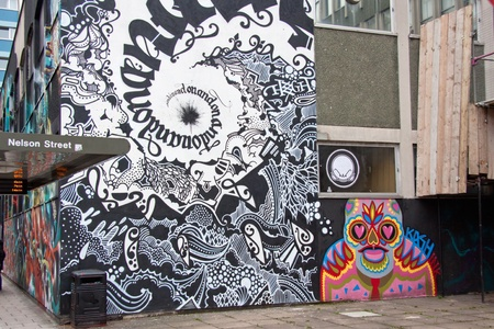 Bristol, England � May 2, 2012 : Artworks on buildings in central Bristol, some of which were painted for the 2011 See No Evil graffiti project which confirmed the citys importance for this art form