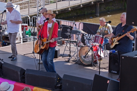 Bristol, England - July 22, 2012 - Seniors band plays the Cascade Steps stage at the annual Harbour Festival, attended by a record 300,000 people over three days