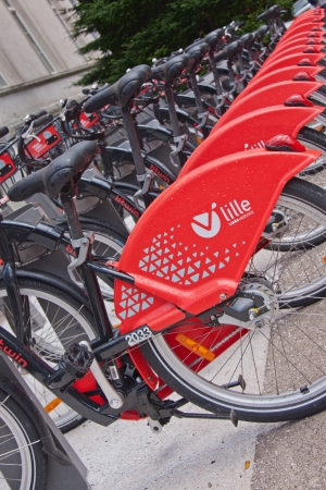 Lille, France � July 13, 2012 - Part of the fleet of rental bikes available for public hire under the V