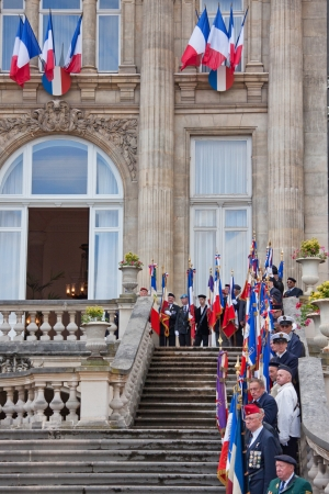 armed services: Lille, France � July 14, 2012 - Veterans of the French armed services waiting to be presented to senior military figures on Bastille Day Editorial