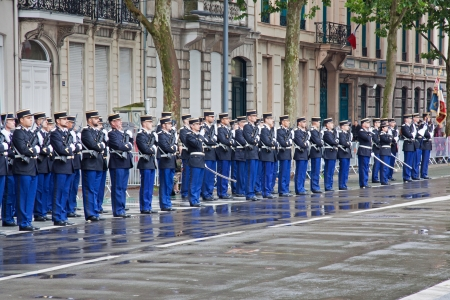Lille, France � July 14, 2012 -  Gendarmerie standing to attention prior to a Bastille Day parade