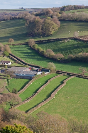 inmates: The Torridge Valley in North Devon UK with two restored  leper fields , strips of land set aside for the inmates of a nearby leper hospital from the 14th century onwards
