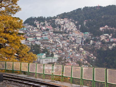 citizenry: One of the densely populated Shimla hillsides in Northern India Stock Photo
