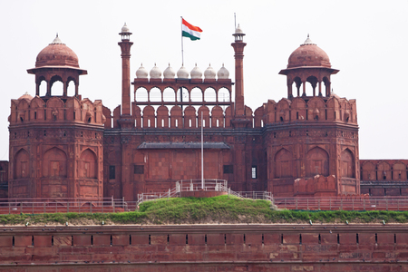 The seventeenth century Red Fort in the centre of old Delhi  photo