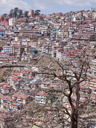 citizenry: A densely populated Shimla hillsides in Northern India Stock Photo