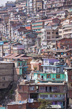 citizenry: Housing on a densely populated hillside in Northern India Stock Photo