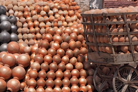 Pots stacked at a pottery in Jaipur Stock Photo