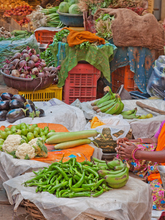 haggling: Produce on display in the market in the Johari Bazaar district of Jaipur