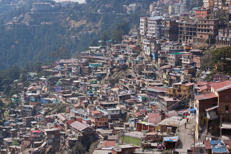 citizenry: Housing on a densely populated Shimla hillside in the foothills of the Himalayas