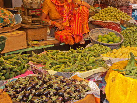 haggling: Produce for sale in the Johari Bazaar in Jaipur