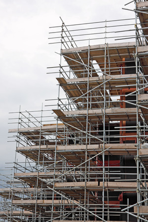 Scaffolding on a UK construction site Stock Photo