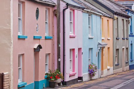 faade: Colorful housing in a Devonshire fishing village UK