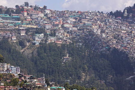 citizenry: A densely populated hillside at Shimla in Northern India in the foothills of the Himalyas