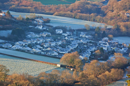unspoilt: The village of Taddiport in the Torridge valley in North Devon, England, on a frosty morning