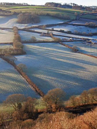 unspoilt: A frosty morning in the Torridge valley in North Devon, England Stock Photo