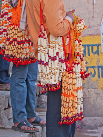 reciting: Sets of Hindu prayer beads (Mala) for sale alongside the river Ganges. The Mala are used in reciting and chanting prayers, or Mantras, a practice known as Japa in Hinduism