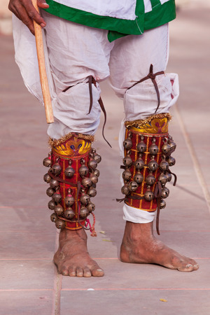 rajasthani: Classical leather leg bells (ghungroos) worn by a Rajasthani dancer Stock Photo