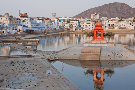 hallowed: Early evening at Pushkar in India a place of pilgrimage for devout Hindus Stock Photo
