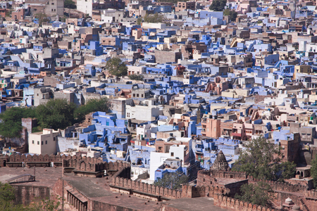 citizenry: View of the densely populated Blue City of Jodhpur in Rajasthan India